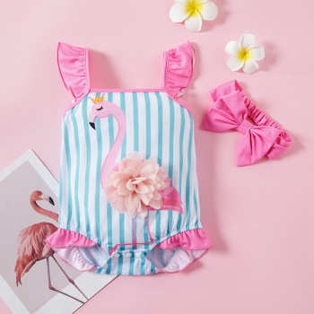 2pcs baby girl sling Flamingo Striped Romper
