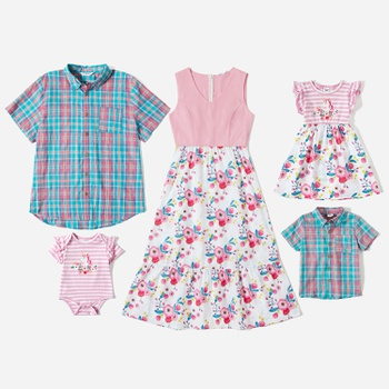 Mosaic 100%Cotton Family Matching Spring Series Sets(Floral Tank Dresses - Plaid Short Sleeve Shirts - Rompers)