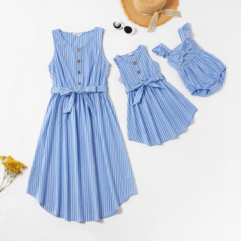 Blue Stripe Matching Midi Tank Dresses