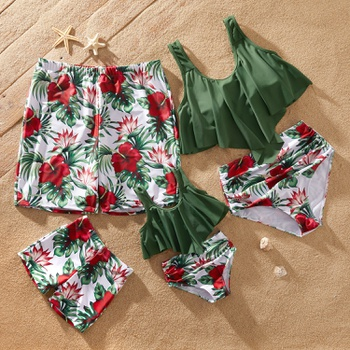 Family Solid Ruffle Top & Floral Print Shorts Matching Swimsuits