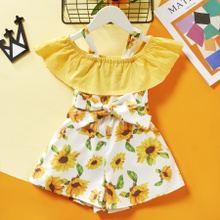 Baby / Toddler Sunflower Bowknot Ruffled Jumpsuit
