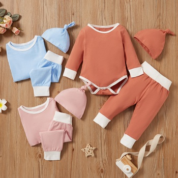 3pcs Baby Unisex Long-sleeve Cotton asual Baby's Sets