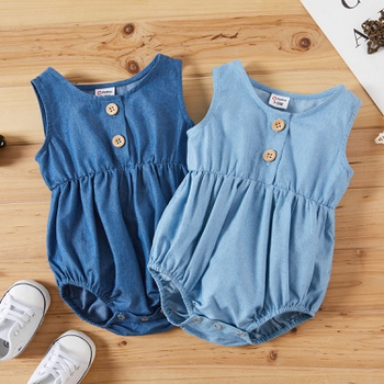 1pc Sleeveless Cotton Solid Romper