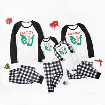 Family Matching Elf Letter Print Plaid Christmas Pajamas Sets (Flame Resistant)