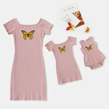Mommy and Me Short Sleeve Butterfly Pattern Print Fitted Dresses