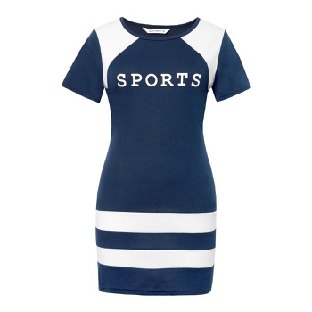 Round collar Stripes Dark Blue Normal shoulder short dress