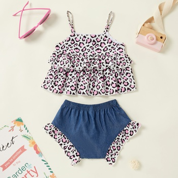 Baby Girl Stylish Leopard Tank Top and Denim Shorts Stylish