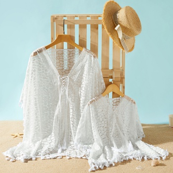 White Tassel Tunic Beach Cover Up for Mommy and Me