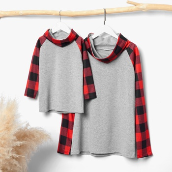 Plaid Splice Turtleneck Tops for Mom and Me