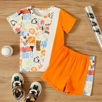 2-piece Toddler Boy Letter Splice Tee and Shorts Set