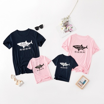 Shark Print Pattern Family Matching Tops