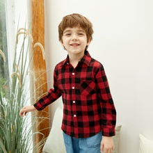 Casual Colorblock Plaid Shirts for Kids