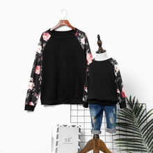 Floral Print Long Sleeve T-shirts for Mom and Me