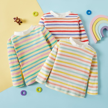 1pc Cotton Long-sleeve Baby Girl casual Stripes Tee