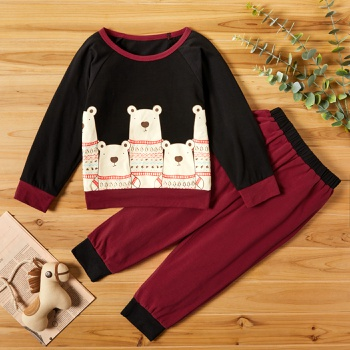 2-piece Baby / Toddler Boy Animal Bear Pattern Pullover and Colorblock Pants Set