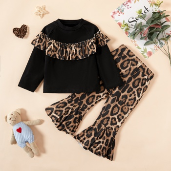 2pcs Baby Girl Leopard Cute Baby's Sets Cotton Fashion Long Sleeve Infant Clothing Outfits