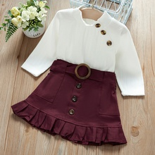 Baby / Toddler Girl Turtleneck Solid Knitted Buckle Ruffled Suit-dress
