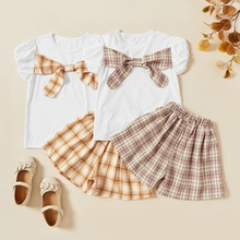 Kids Girl Cotton Bowknot Tee and Plaid Elasticized Shorts Set