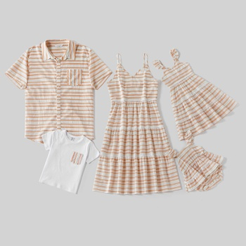 Mosaic Stripe Series 100% Cotton Sets(  Hollow Tank Dresses - Rompers - Tops)