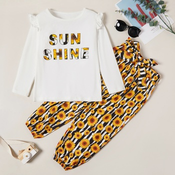 Fashionable Sunflower Letter Print Ruffled Longsleeves Tee and Allover Bowknot Pants Set
