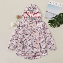 Fashionable Unicorn Allover Print Hooded Outdoor Jacket Coat