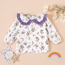 Baby Girl casual Floral Shirt Lotus Collar Cute Long-sleeve Smock