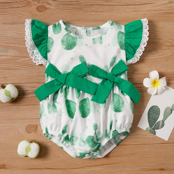 Baby Cactus Flutter-sleeve Bowknot Romper