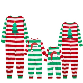 Family Matching Green and Red Stripe Christmas Onesies Pajamas (Flame Resistant)