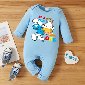 Smurfs Baby Boy/Girl First Birthday Cake Cotton One Piece