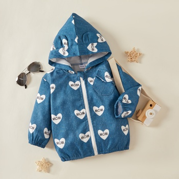 1pc Baby Unisex Heart Shape Fashionable Hooded Tops Coat
