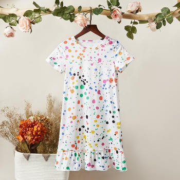 Trendy Colorful Polka Dots Short-sleeve Dress