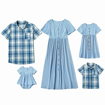 Mosaic 100%Cotton Family Matching Blue Series Sets(V-neck Dresses - Plaid Button Front Shirts - Rompers)
