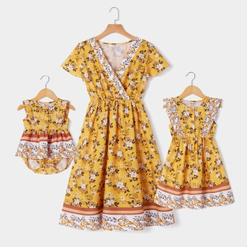 Floral Print Matching Yellow Midi Dresses