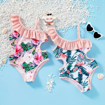 Kids Floral Ruffled Hollow Out Swimsuit