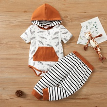 2pcs Baby Unisex Cotton Hooded casual Feather Baby's Sets