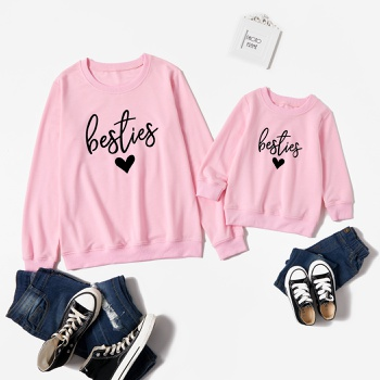 Bestie Letter Love Print Pink Sweatshirts for Mom and Me