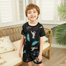 2-piece Fashionable Cartoon Dinosaur Allover Top and Shorts Set