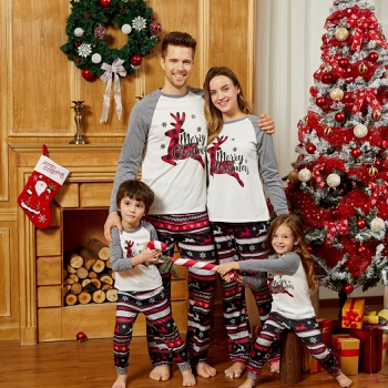 Merry Christmas Plaid Reindeer Print Family Matching Pajamas Sets (Flame Resistant)