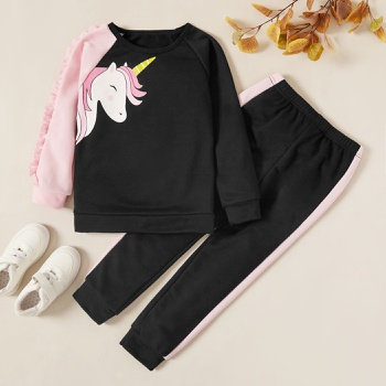 Trendy Unicorn Print Sweatshirt and Pants Set