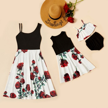 Red Roses Print Tank Dresses for Mommy and Me