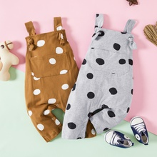 Baby Strappy Polka Dots Pocket Design Strappy Jumpsuits