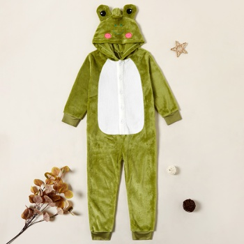 Stylish Frog Hooded Longsleeves Jumpsuit