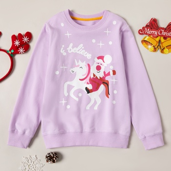 Stylish Christmas Santa Unicorn Print Sweatshirt