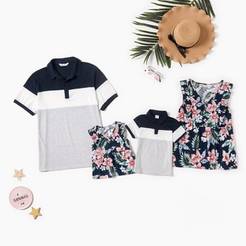 Family Look V-neck Floral Short Sleeve Matching Tops