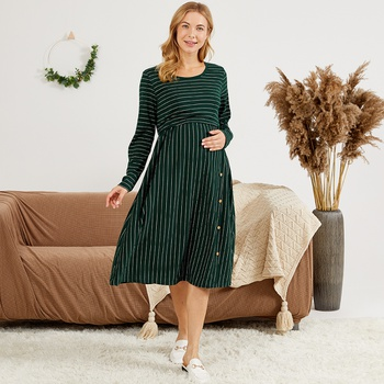 Maternity Round collar Stripes full print Green/White Knee length A Long-sleeve Nursing Dress