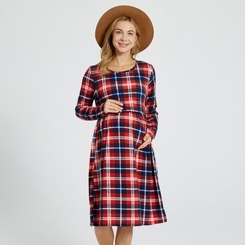 Maternity Round collar Plaid full print Red Knee length A Long-sleeve Nursing Dress