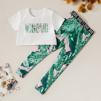 Kids Girl Letter Tee and Plant Vacation Pants Set