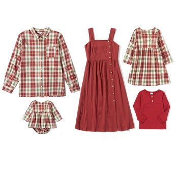 Mosaic 100% Cotton Family Matching Plaid Sets(Solid Tank Dresses -Plaid Button Front Shirts Rompers)