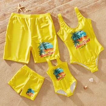 Family Look Coconut Tree Pattern Print Solid One-piece Matching Swimsuits