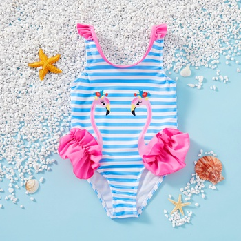 Toddler Girl One Piece flamingo Stripe Swimsuit